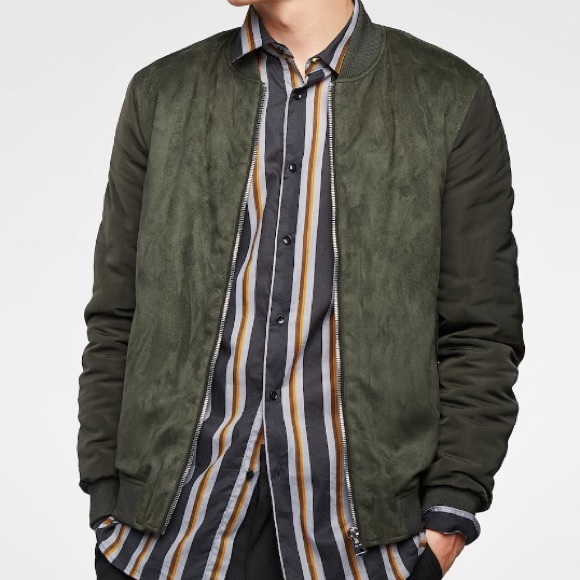 a92ae76fd ZARA MAN Contrasting Faux Suede Bomber Jacket